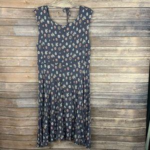 Loft Dress Sleeveless Keyhole TIe Back XL gray